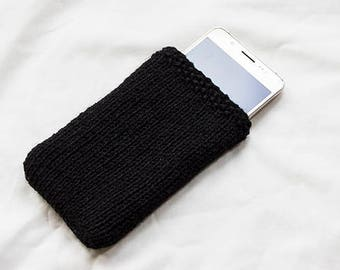 Black Felt Lined knitted Phone Sleeve, phone case, Smartphone, iPhone 7, Samsung Galaxy ALL Phone Sizes