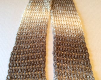 Scarfie Scarf, Brown and Cream, Handmade