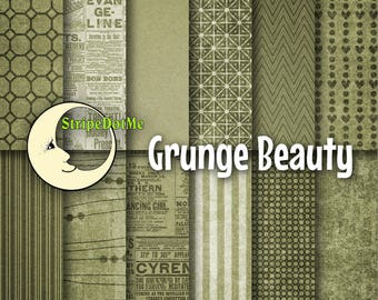 Digital Paper Pack, Digital Paper Green, Grunge Digital, Paper Digital Old, Paper Vintage Digital, Decoupage Paper,Commercial Use 00042