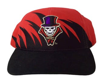 """Vintage New Orleans VooDoo """"Sharktooth"""" Velcroback Hat by Drew Pearson Rare AFL 90s Red"""