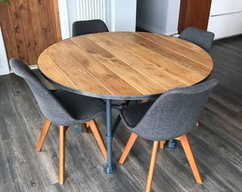 Solid Oak Industrial Style Dining Table, Round Oak Kitchen Table,  Industrial Chic, Steel
