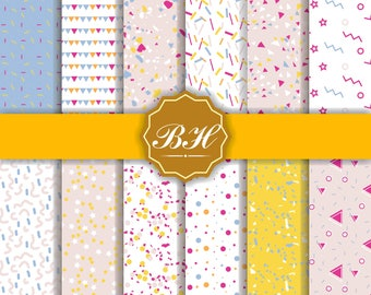 Party Digital Papers, Birthday Digital Paper, Party Backgrounds, Colorful Party Paper, Confetti backgrounds, Digital Paper, INSTANT DOWNLOAD