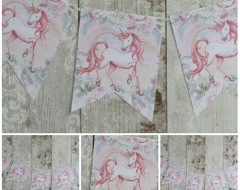 Floral Shabby Chic Unicorn Bunting Banner /Garland Birthday,Party,Decoration,Princess Party,Fairytale