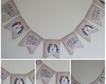 Merry Christmas Penguin Bunting Banner Garland Decoration,Party,Home,Christmas Banner,Holiday Decoration,XMAS