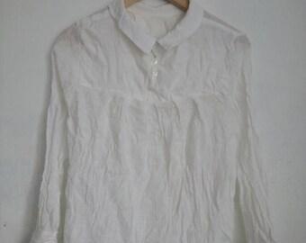 ON SALE 4 Vintage 90s White Feminine Elegant Womens Long Sleeve Blouse