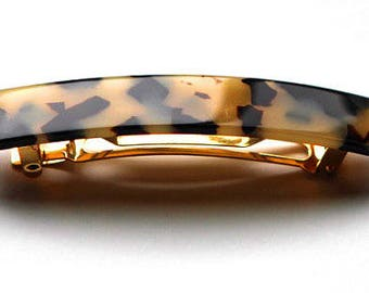 French Handmade Barrettes Celluloid Tortoise Shell 3 Inches Medium Tokyo Barrette With New No Slip Grip Technology M05