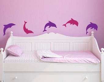 dolphin dolphins wall decals set of 10 ocean beach house bedroom bathroom stickers removable