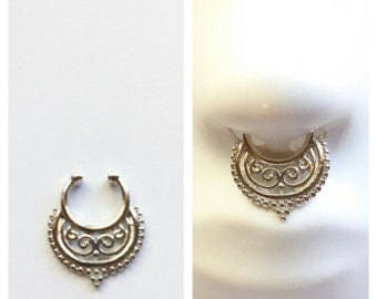 Large faux septum ring, tribal jewelry, nose ring