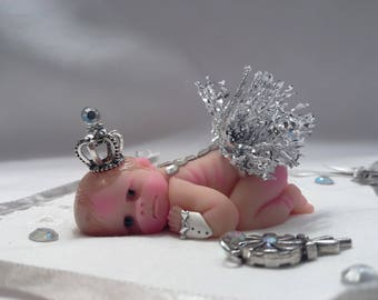 "Polymer Clay Babies ""Little Princess"" Awake Blue Eyes BABY SIZE 2.5"" Gift, Collectible, Keepsake, Memorial, Cake Topper, Home Shelf Display"