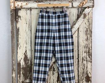 Vintage 1950s Blue Black Gray and White Plaid High Waisted Capri Pants Small 25 Waist