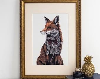 Mr Fox Art Print - fox art print - fox painting - fox gift - fox art - fox print uk - christmas gifts - vintage time traveller