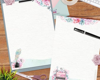 Typewriter set - DOWNLOAD file - 4 different designs - lined and unlined