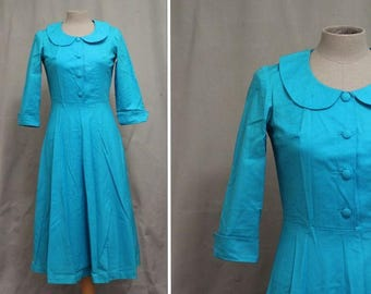 1960's Turquoise Blue Babydoll Dress - Size S #1760