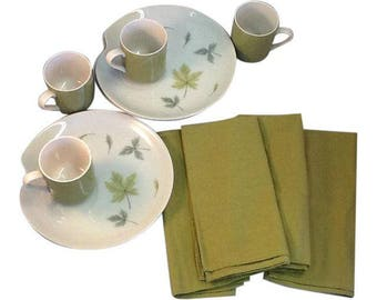 Vintage Mikasa Dishes. Mikasa Dinner Set. Mikasa Replacement Dishes. 4 Cups, 4 Dishes, 4 Cotton Napkins