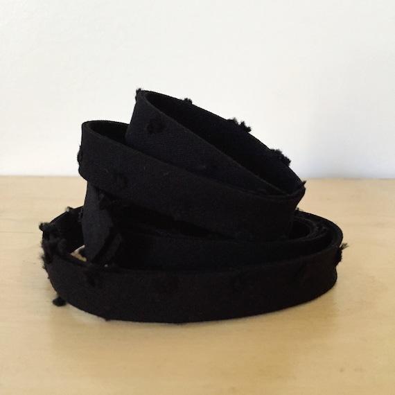 "Bias Tape in Michael Miller Textured Clip Dot black cotton 1/2"" double-fold binding- Swiss dot- 3 yard roll"