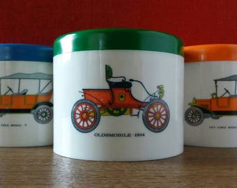 Set of stock pots, stock buses, 70s kitchen, bathroom, plastic fantastic, camping, Kids Room, Oldsmobile, T Ford, collectible car