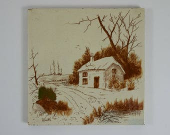 Antique Victorian Thomas and Richard Boote Winter pottery Seasons Series tile