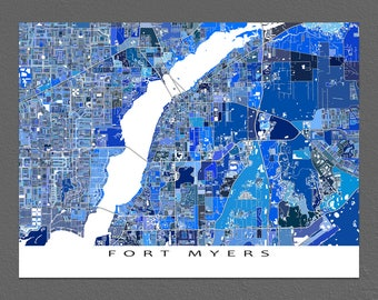 Fort Myers Map Print, Fort Myers Florida, FL City Art Maps