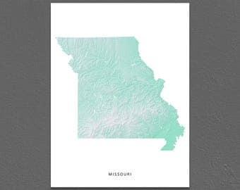 Missouri Map Print, Missouri State, Aqua, MO Landscape Art