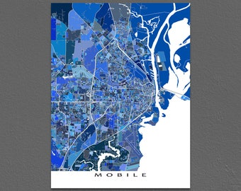 Mobile Map Print, Mobile Alabama, Blue City Street Art