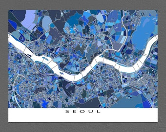 Seoul Map Print, Seoul South Korea, Asia City Map Art Prints