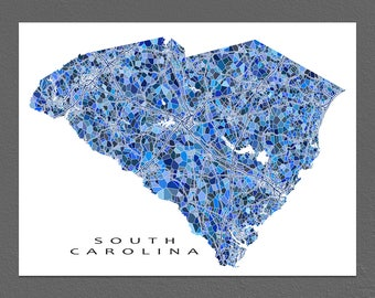 South Carolina Map Print, South Carolina State Art, SC Wall Decor