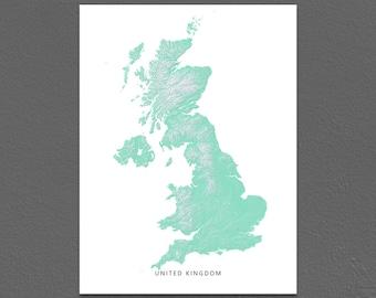 United Kingdom Map Print, UK Map, Aqua, Landscape Art