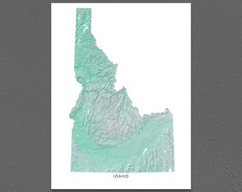 Idaho Map Print, Idaho State, Aqua, ID Landscape Art