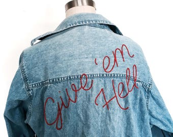 Embroidered Denim Shirt | Made to Order | Vintage | Oversized | Give Em Hell | 70s | 80s | Sustainable | Upcycled | Festival Fashion
