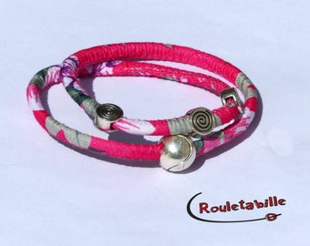 Bracelet, pink and fuchsia flowers, silver loops, magnetic clasp