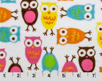 Robert Kaufman Night Owls Cuddle in Carnival from Shannon Fabric