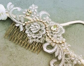 Hair comb silver /wedding lace wedding lace Crystal