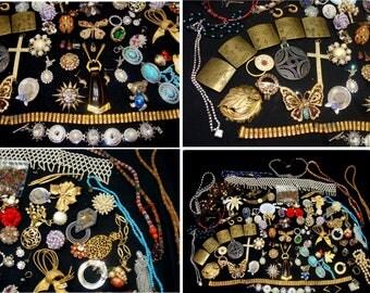 Vintage destash jewelry lot-antique jewelry lot-repurpose jewelry lot-100 craft jewelry bundle-rhinestone destash-old jewelry repair lot