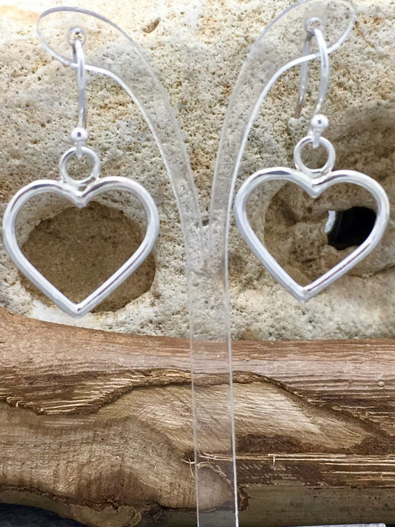 Handcrafted Sterling Silver Heart Earrings.