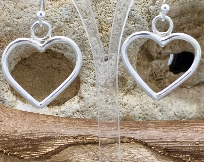 Handcrafted Sterling Silver Heart Earrings.