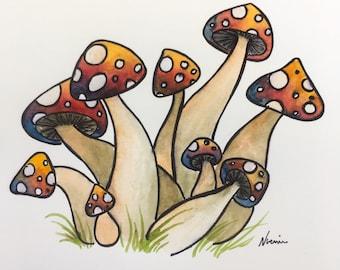 Mushrooms original watercolor and ink painting small