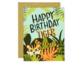Happy Birthday Tiger Birthday Card | Greeting Card | Illustrated Card | Folk and Fauna Co