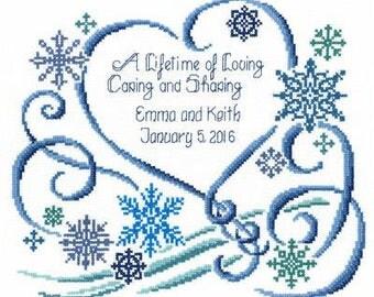 Completed cross stitch winter wedding, wedding gift, wedding cross stitch, anniversary