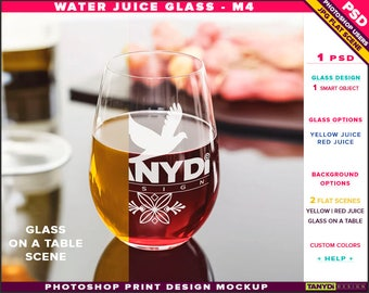 Glass Water Juice M-4 | Yellow & Red Juice | Photoshop Print Mockup | Tumbler on a ShinyTable Food | Smart object Custom colors