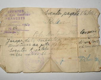 WW2 Original Summons to the Army for War 1941. Written in Latvian language.