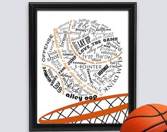 Basketball Decor, Basketball Gift, Basketball Art, Basketball Print, Sports Decor, Coach Gift, Team Gifts, Word Art INSTANT DOWNLOAD