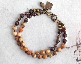 Red crazy lace agate bracelet multistrand, Rustic stone jewelry handmade, Western gift for cowgirl, Present for friend