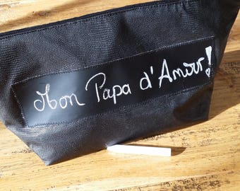 """Toiletry Kit """"Write your Message"""" black faux leather and his ref:001 chalk"""