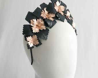 Black and Rose Gold Leather Floral Crown with Rose Gold Accents