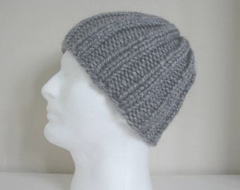 Knit hat gray teen warm comfortable chunky winter hat girl knit in round alpaca hat, teen hat, acrylic hat, chunky hand knit gray hat boy