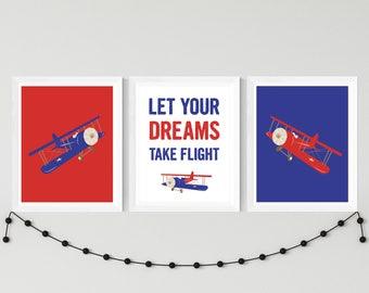 Airplane boy nursery printable art set, custom colors, let your dreams take flight boys room decor, playroom airplane art download