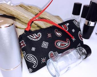 Bandanna Print Lipstick Case, Black Essential Oil Bag, Cute Small Zipper Pouch, Lip Balm Case, USB Case, Doterra Oil Storage