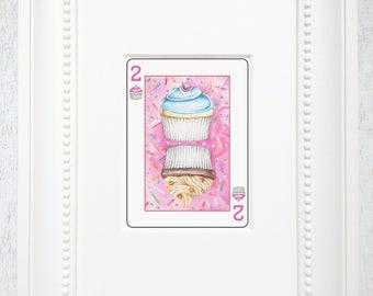 playing card art, cupcake art, playing card wall art, cupcake illustration, two cupcakes, food art, dessert art, yummy art, matted wall art