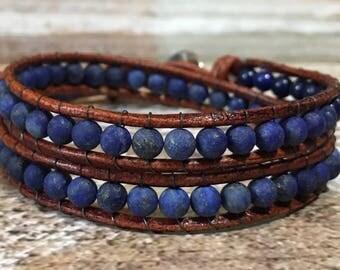 Lapiz Lazuli Bracelet / Boho Leather Wrap Bracelet / Amazonite Bracelet / Bohemian Jewelry / Chan Luu Bracelet