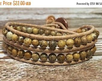 SALE Picture Jasper Bracelet / Healing Crystal Bracelet / Chan Luu Style Wrap Bracelet / Healing crystal Jewelry / Chakra Bracelet